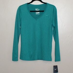 NWT Nike Green Long Sleeve Dri Fit Top